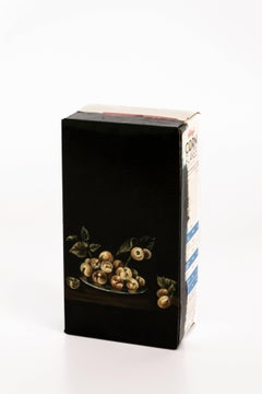 Untitled #11 from 'Biotá' series, Still Life Painting on Cardboard Box