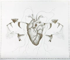 The Heart, Mix Media Drawing, Intervened by the artist, 2018