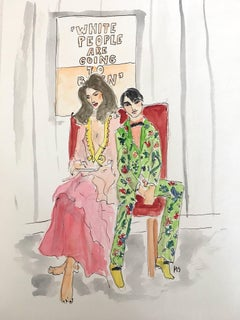 Stephanie Seymour and Harry Brant, Watercolor on Archival Paper, 2017