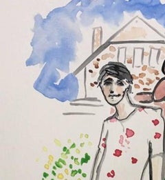 Harry Brant in Connecticut, Watercolor on Archival Paper, 2017