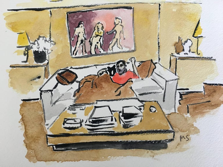 Marc Jacobs at Home, Watercolor on Archival Paper, 2016