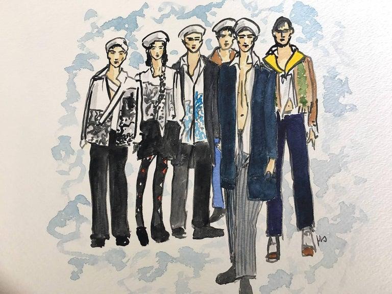 Prada Men's Fall, Watercolor on Archival Paper, 2016