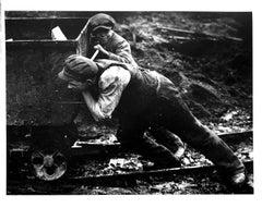 Untitled (Young Boys Pushing Mine Trolley), Silver Gelatin Print