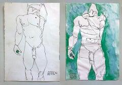 """""""Duchándome"""" and """"Duchándome, En Cuerpo Ajeno"""", Watercolor Diptych, 2018"""