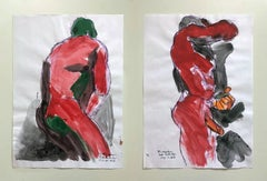 """""""Duchándome, May 22nd"""" and """"Duchándome, May 27th"""", Watercolor Diptych, 2018"""