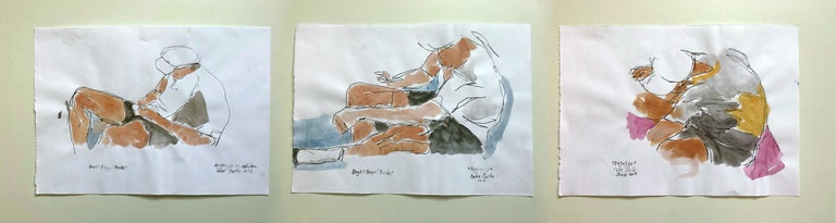 Boys and Ragazzo. Watercolor and black ink on archival paper (3 boys)
