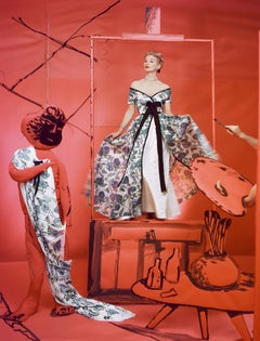"""Lisa Fonssagrives, Dress by Pierre Balmain, Background by Marcel Vertes, 1953"""