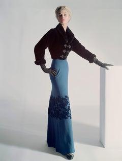 Jean Patchett in Sealskin Mainbocher Jacket and Floor Length Skirt, Vogue 1951