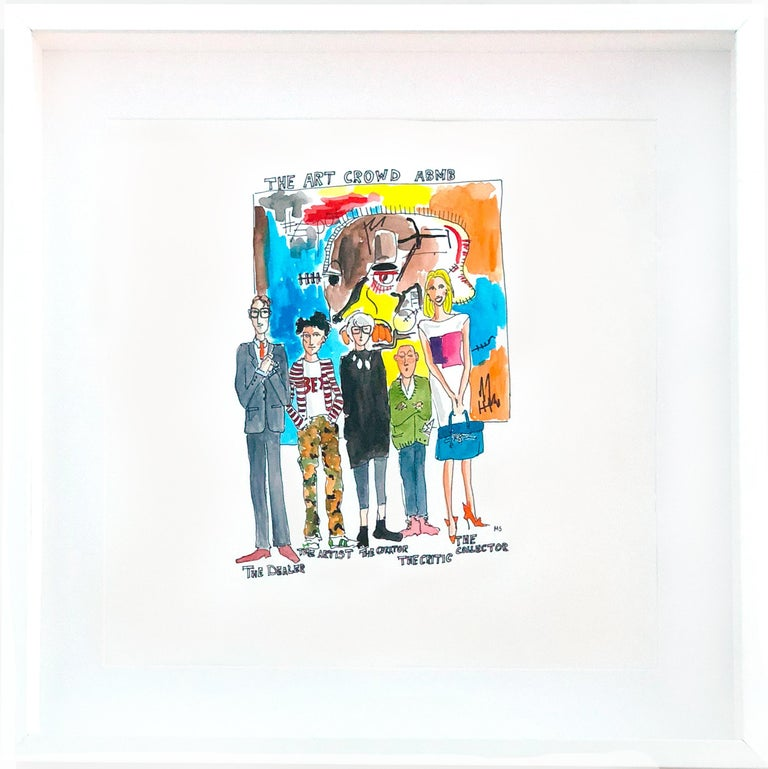 The Art Crowd Diptych from The Art World Series by Manuel Santelices Watercolor, ink, gouache on archival paper 2 artworks in total: 'Jeffrey Deitch Protected by His Angels Warhol and Basquiat' and 'The Art Crowd at ABMB' Individual frame size: 21