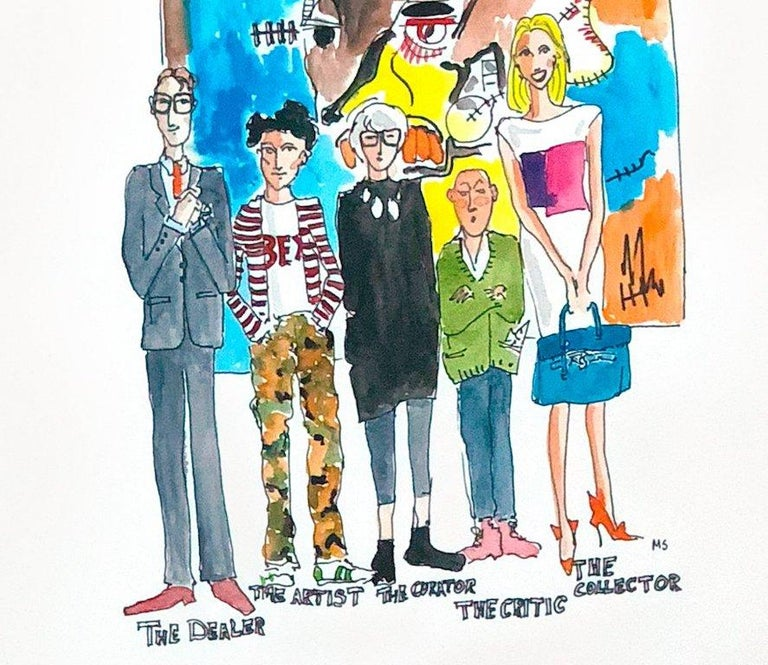 The Art Crowd from The Art World Series, Watercolor on Archival Paper, 2017 For Sale 6