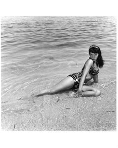 Bettie Page, Miami Beach, Florida, 1954, Silver Gelatin Print, Hand Printed 1988