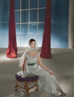 Carmen Dell'Orefice, Dress by Hattie Carnegie, 1947, Large Color Photograph