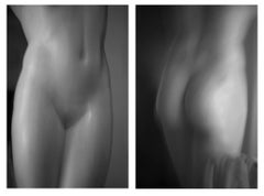 Roman Statue Study 7 and 8, Large Black and White Diptych Photograph, 2014