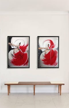 Color Origami Spiral I and II One of a Kind mounted on aluminum frame