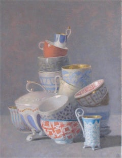 """Elegant Still Life of Many Cups, Some with Orange"""
