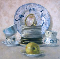 Blue and White Cup and Plate Composition with Apple