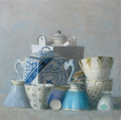"""Still Life of Blue Cups and White Sugar Dish on Blue"""