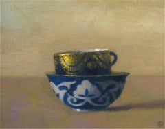 """Elegant Still Life of Uzbek Cup with Russian Blue and Gold Cup"""