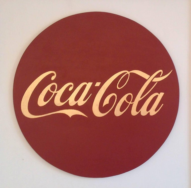 """Charlotte Andry Gibbs Figurative Painting - """"ICONA""""  Pop, Coca-Cola Symbol,  23 Kt. Gold Leaf/Oil, Round,  Red/Rust on White"""