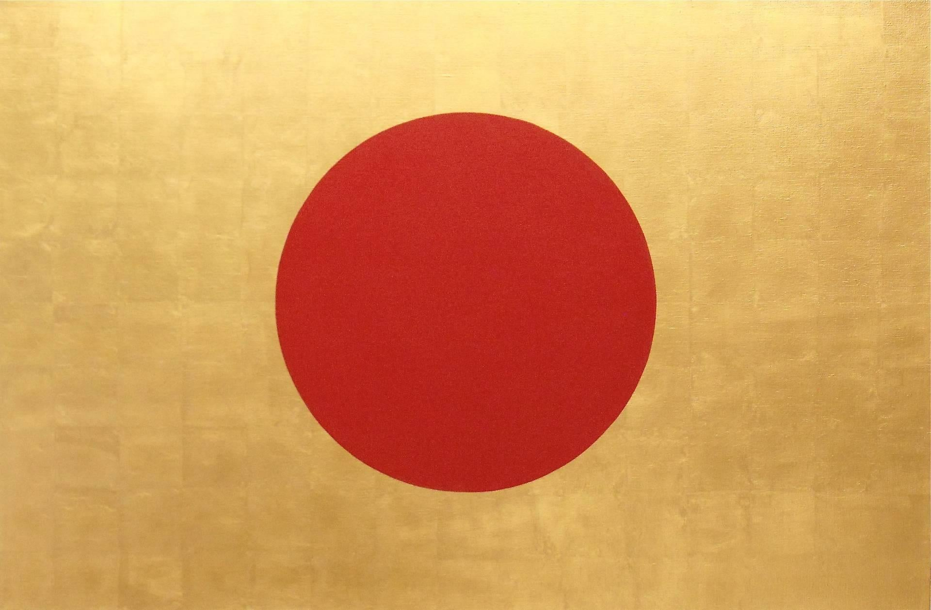 """""""Rising Sun"""" Japanese Flag POP, Minimal,23K Gold Leaf /Oil Red and Gold Painting"""
