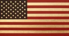 """Stars and Stripes"" Contemporary Minimal American Flag 23k Gold Leaf Flag Pop"