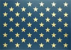 """Canton Major"" Americana,  Pop Art, 23K Gold Leaf, Stars, Navy Blue, Flag Detail"