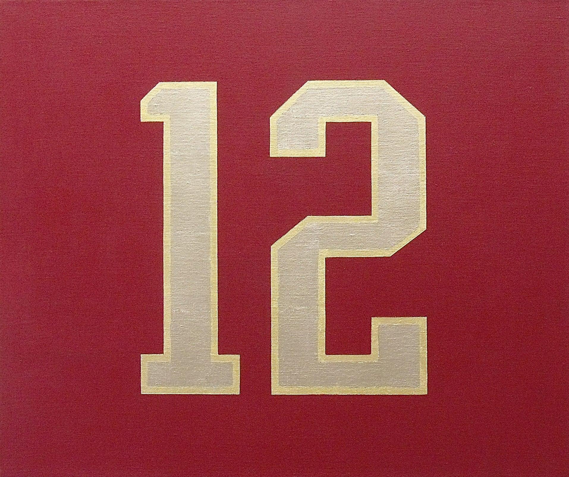 """#12""  Homage to Tom Brady Painting 23 Karat Gold Leaf/Oil POP Elegant Whimsical"