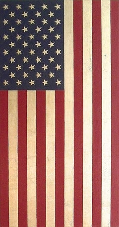 """""""U.S. Flag Vertical"""" American Pop Art Oil Paint Minimal Abstract Contemporary"""