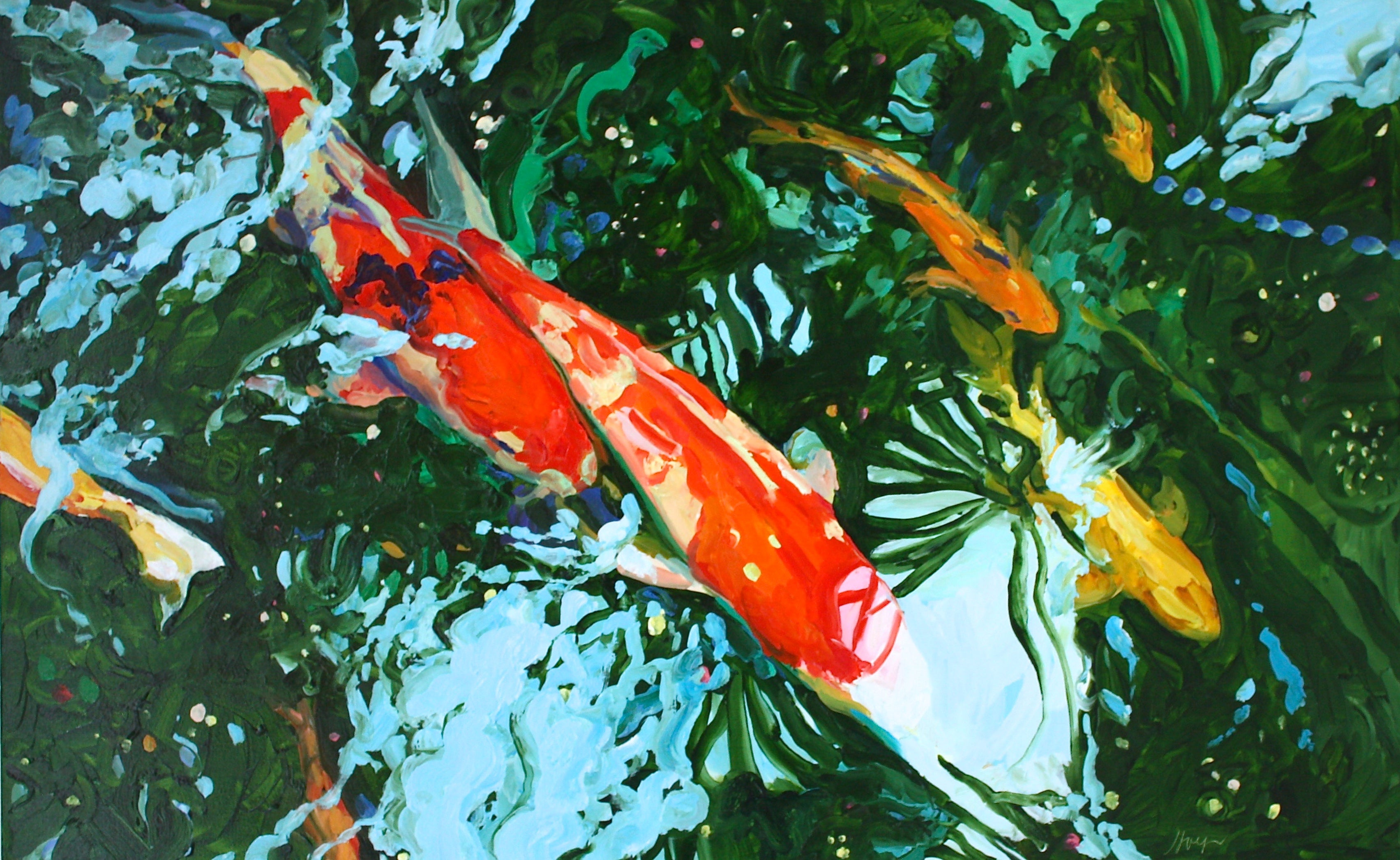 Linda Holt - Seven Koi 16, Painting For Sale at 1stdibs
