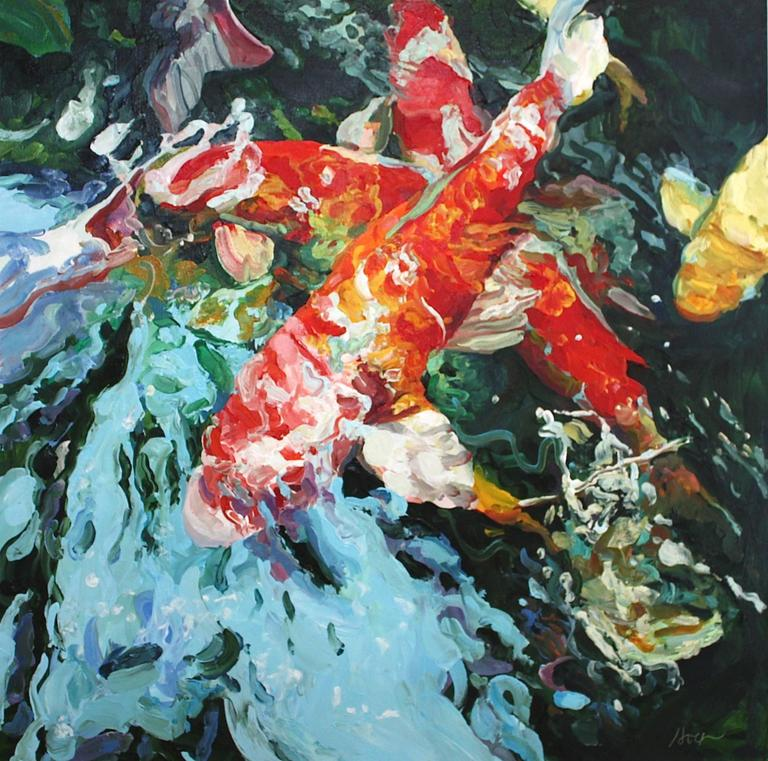 Linda holt surging koi painting at 1stdibs for Koi fish farm near me