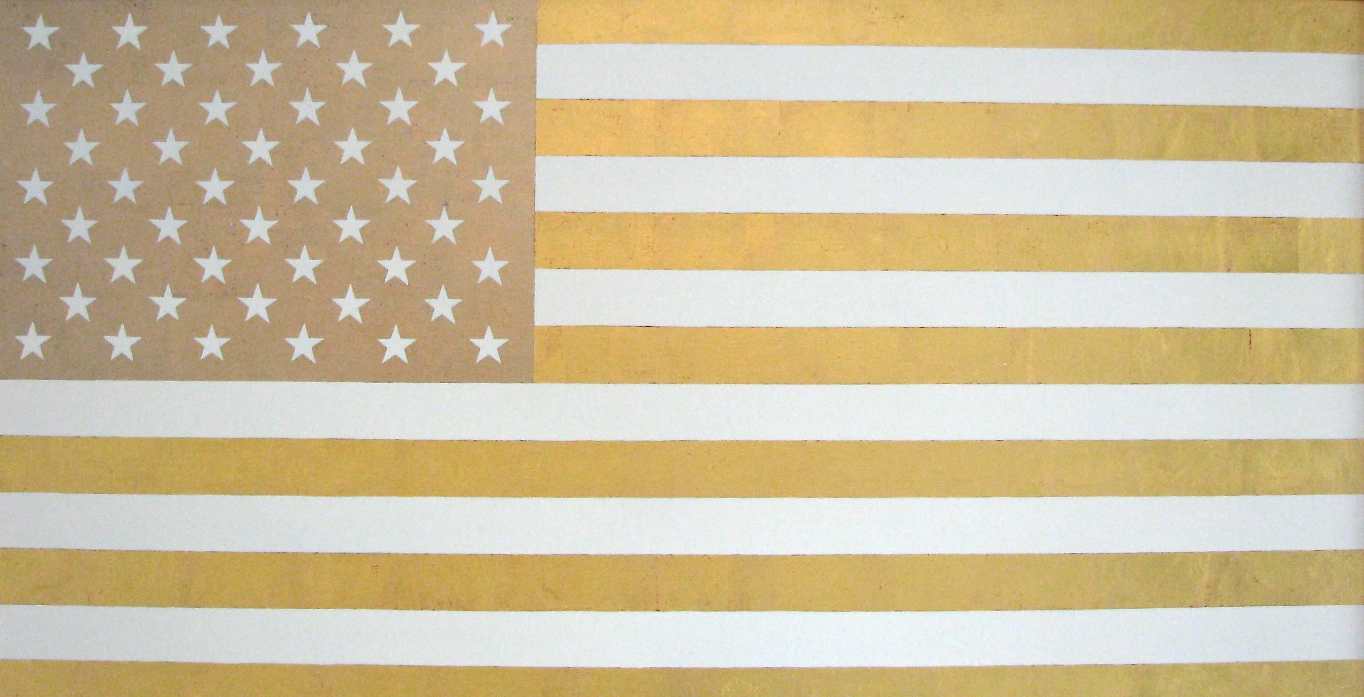 """""""U.S. Flag in White and Gold""""  Americana, Pop, 23 Karat Gold Leaf, Contemporary"""