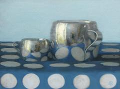 Two Silver Cups on White Polka Dots