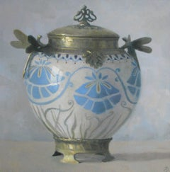 """Elegant Still Life of Gold and White Art Nouveau Vase with Blue Flowers"""