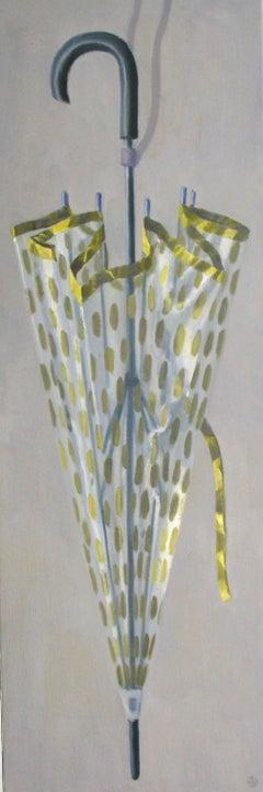 """Elegant Still Life of Umbrella with Golden Polka Dots"""