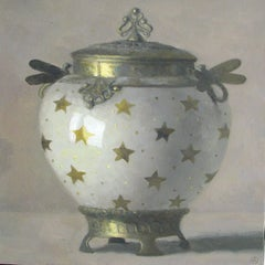 """Elegant Still Life of White and Gold Art Nouveau Vase with Golden Stars"""