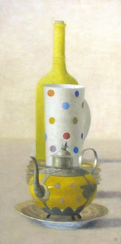 """""""Elegant Still Life of Yellow Bottle and Teapot, and Polka Dot Cup"""""""