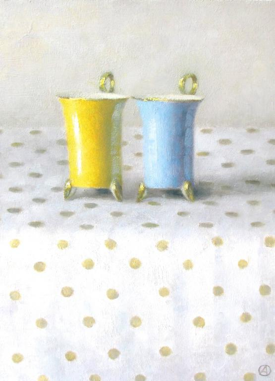 Yellow and Blue Cups on Polka Dots