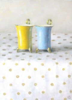 """Elegant Still Life of Yellow and Blue Cups on Polka Dots"""