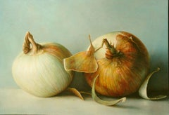 """Mulford Onions""  Large Highly Realistic Still Life, 2 Onions, Gray/Green Ground"