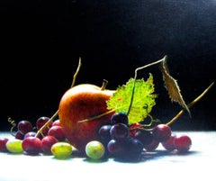 """Fort Pond Still Life with Apple""  Dramatic Apple and Grapes on Black with Light"