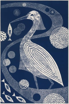 """Wading and Wondering"" Folk inspired Blue Linoleum Block Print Heron Composition"