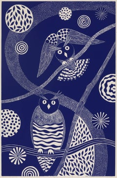 """Watching and Waiting,"" Folk inspired Blue Linoleum Block Print of Owls"