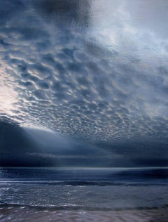 """Sea and Sky in Moonlight""  Large Photo-Realist Beach Landscape Dark Blue/White"