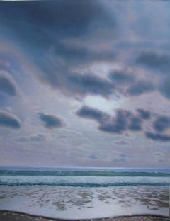 """Sea and Sky in Hazy Sun""  Highly Realist Large Beach Landscape Purple/Pink/Blue"