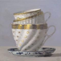 3 White and Gold Cups on Saucer