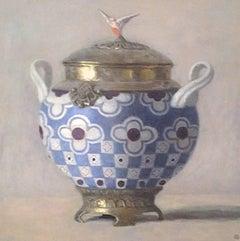 """Elegant Still Life of Blue, White, and Gold Art Nouveau Vase"""