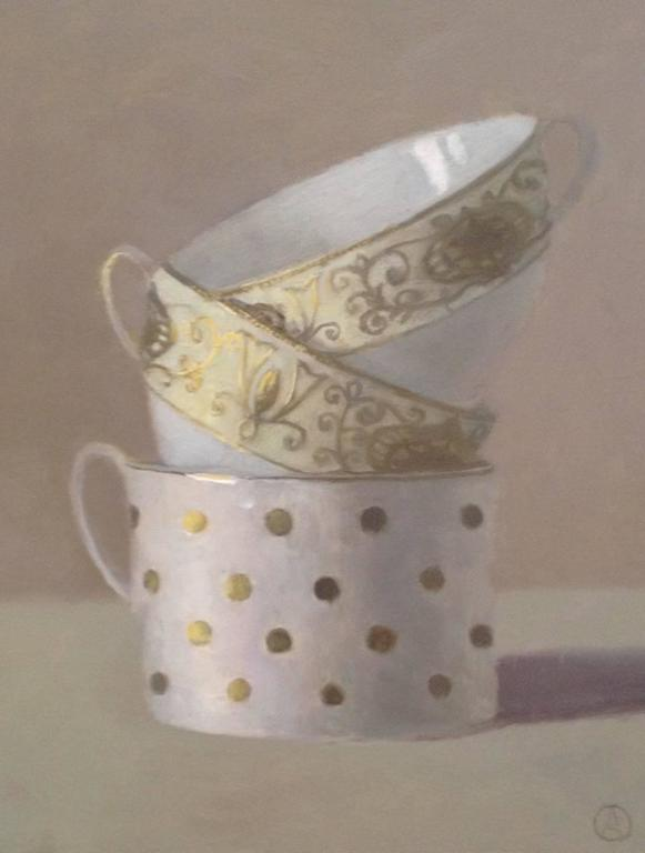 Olga Antonova Still-Life Painting - Three White and Gold Cups Stacked