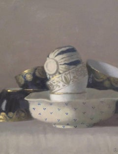 """""""Elegant Still Life, Composition with Six Cups and Bowl in Blue, White and Gold"""""""