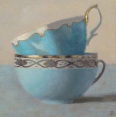 """Two Turquoise and Silver Cups Stacked"""