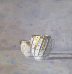 """""""Elegant Still Life of Two White and Gold Cups on Gray"""""""